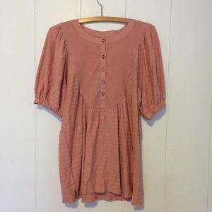 Anthropologie Pink Babydoll Blouse